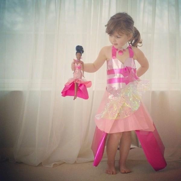 Платье из подручных материалов для девочки на конкурс